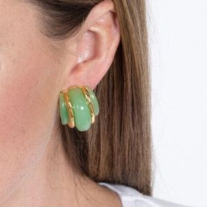 Kenneth Jay Lane Double Ribbed Jade Earring Clip
